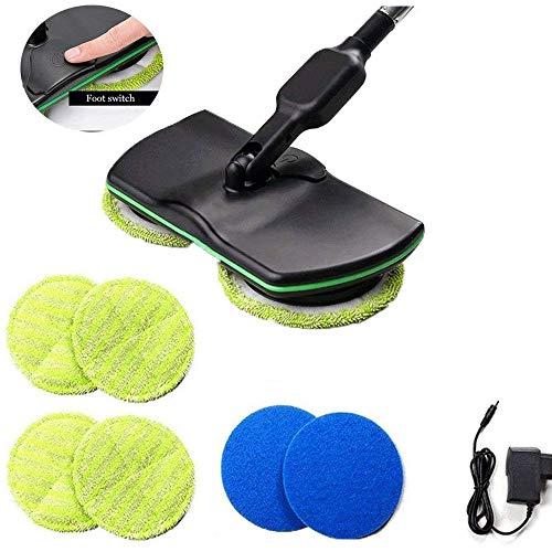 Accu-vloerreiniger met elektrische spin-mop-greep, oplaadbare 3-in-1 spinnzuiger voor alle oppervlakken, wet-dry-mop-vloerpolijstmachine met 4 microvezelpads en 2 polijstpads