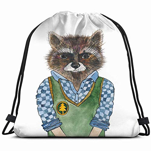 Raccoon Shirt Vest Portrait Animal Animals Wildlife Anatomy The Arts Drawstring Backpack...