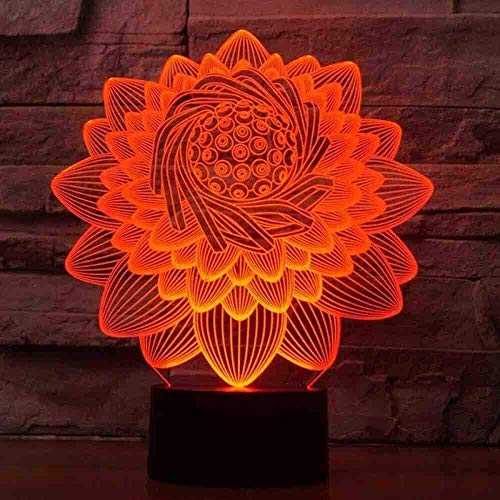 3D Lotus Flower Shape Table Lamp 7 Colors Led Touch Swithc Floral Nightlight USB Sleep Lighting Lampara Kids Gifts Bedroom Decor