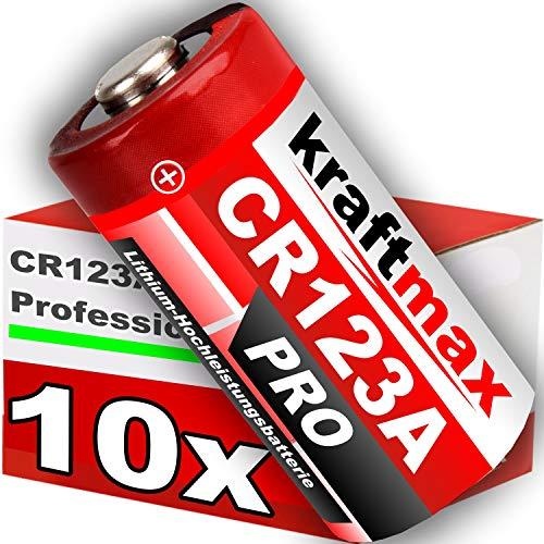 kraftmax 10er Pack CR123 / CR123A Lithium Hochleistungs- Batterie für professionelle Anwendungen - Neueste Generation