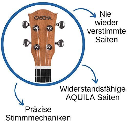 CASCHA HH 2036 DE Premium Mahagoni Konzert Ukulele Bundle mit Ukulelenschule, Stimmgerät, gepolsterter Tasche, 3 Picks und Aquila Qualitäts-Saiten - 10