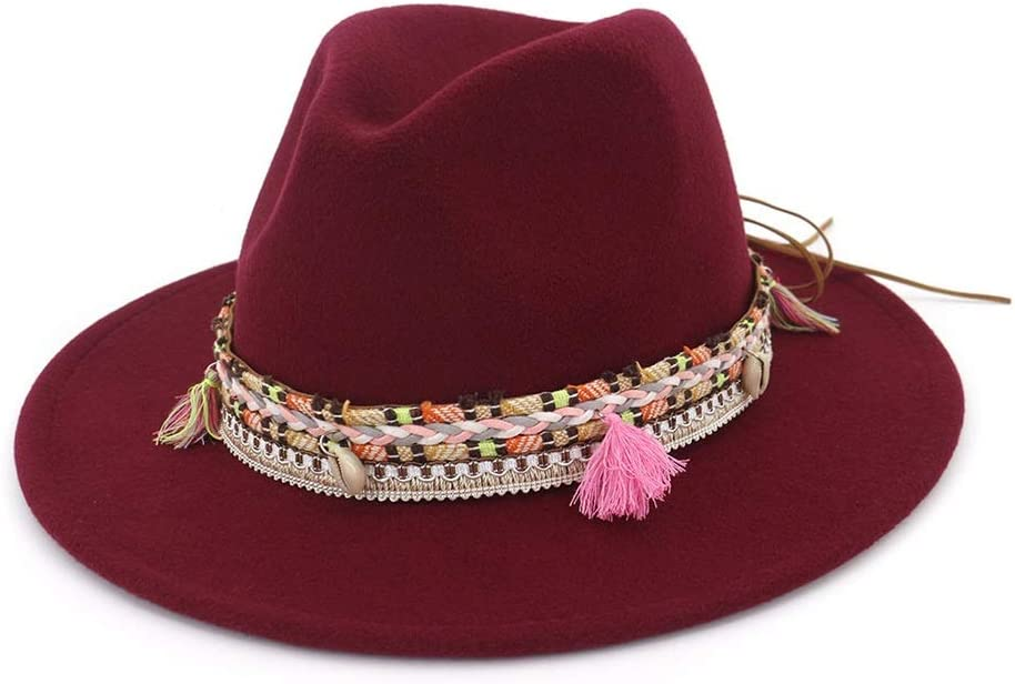 No-branded Mens Womens Fedora Hat with Tassel Ribbon Party Hat for Adult Panama Jazz Hat ZRZZUS (Color : Wine red, Size : 56-58)