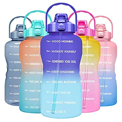 Venture Pal 1 Gallon Large Motivational Sports Water Bottle with Time Marker & Straw, Leakproof BPA Free Reusable Fitness Water Jug for Gym,Work and Outdoor Sports-Ombre Purple Green