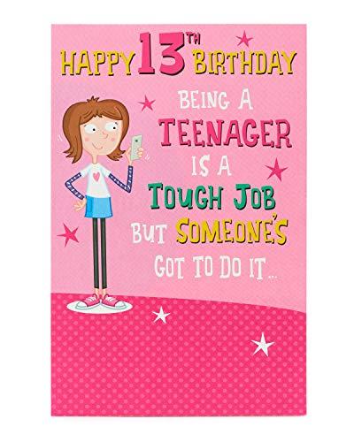 Geburtstagskarte zum 13. Geburtstag, lustige Geburtstagskarte für Mädchen