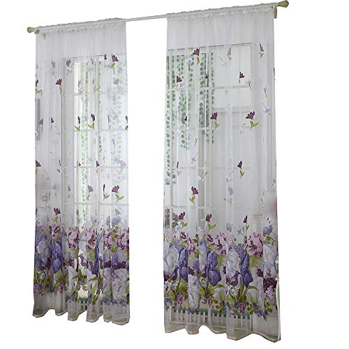 PIKAqiu33 Leaves Sheer Curtain Tulle Window Treatment Voile Drape Valance 1 Panel Fabric, Home Decor, for Xmas Day and New Year (Multicolor)