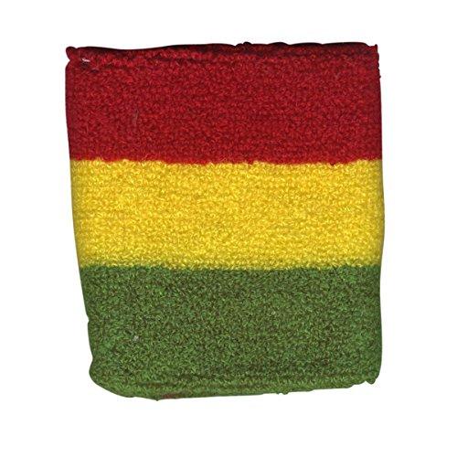 Freak Scene® Schweißband°Pulswärmer°bunt gestreift°Regenbogen, Farbe: rot/gelb/grün