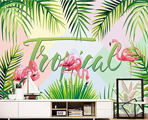Qingany wandscherm, behang, personaliseerbaar, tropisch bos, vocht, plant, flamingo, 3D, woonkamer, slaapkamer, tv-achtergrond, 3D 430 * 300cm