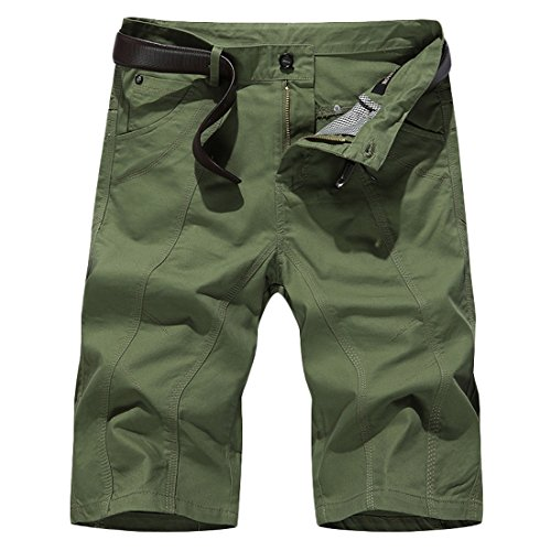 Zago Men's Patchwork Straight Leg Solid Multi Pocket Pants Shorts blackish green US 30