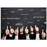 A4 XXL Abschiedskarte DAUMEN HOCH - MEHRSPRACHIG mit Umschlag - Klappkarte für Kollegen zur Rente...