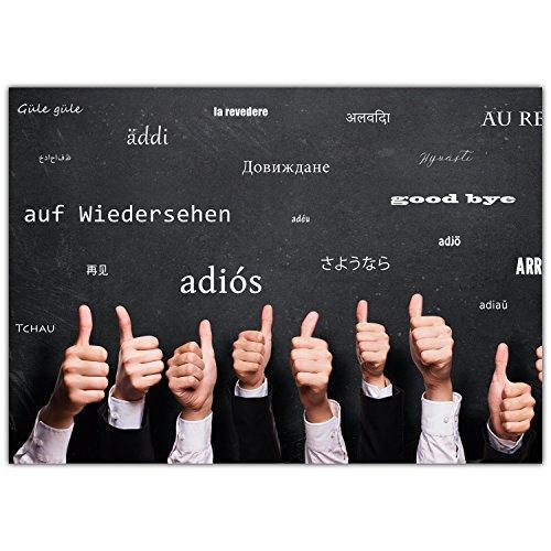 A4 XXL Abschiedskarte DAUMEN HOCH - MEHRSPRACHIG mit Umschlag - Klappkarte für Kollegen zur Rente Pension Mutterschutz Ruhestand Karte von BREITENWERK