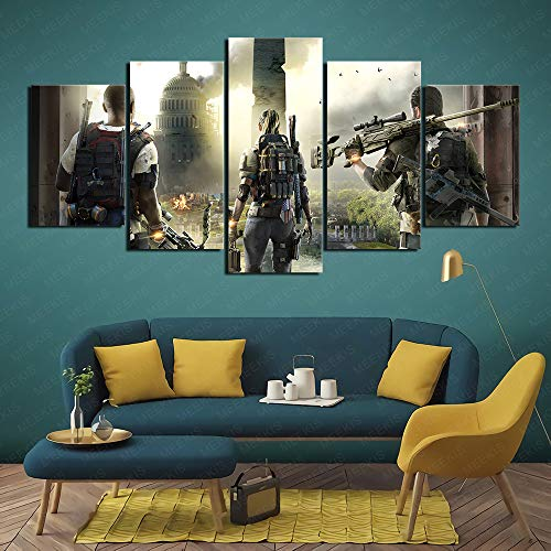 Tom Clancy The Division 2 Game HD Printed Painting 5 Panel Living Room Decoration 100x50cm Frameless