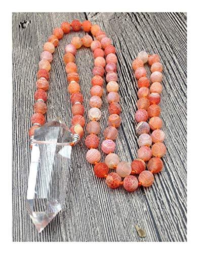 LKITYGF Novela Cuarzo Claro Natural Punto Doble Punto Colgante Dragón Naranja Ven Agat 8mm Piedra Piedra Nudo Collar de 9 Pulgadas (Size : 40inch Long)