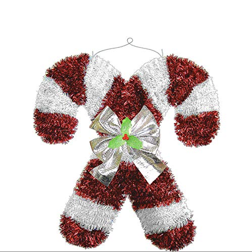 amscan Deluxe Christmas Hanging Tinsel Candy Cane | Party Decoration, Red/White, 18' x 17' (240614)