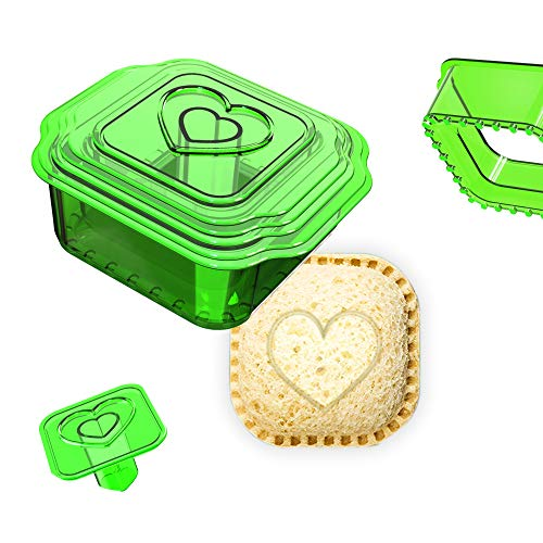 Khukam Sandwich Cutter and Sealer, Uncrustables Maker, Bread Sandwich Decruster for Kids Great for Lunchbox and Bento Box, Boys and Girls Kids Lunch(6-in-1),Green