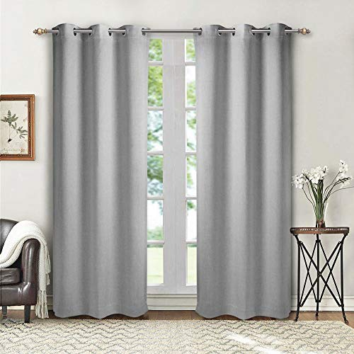 SINGINGLORY Gray Blackout Curtains for Bedroom Living Room, 42 x 84 Inches Long Curtains Panels Set of 2 Linen Textured Thermal Insulated Grommet Window Curtains (42x84 Inch, Light Grey)