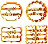4 stampi per biscotti con buoni desideri, divertenti stampi per biscotti, per biscotti, lettere e forme, per biscotti, per la cucina, fai da te (set 1)