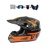 BHGJ Casco Motocross Niño,Diseñado con FOX Cascos De Motocross Cascos de Cross de Moto Set con Gafas/Máscara/Guantes(FOX,naranja) (S)