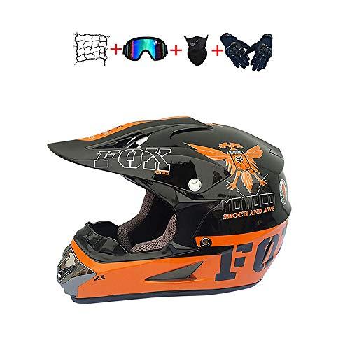 BHGJ Casco da Motocross Fuoristrada per Uomo con FOX design Moto da Cross Casco Completo Casco da Corsa Road Set con Occhiali Maschera Unisex e Guanti per Adulti (E, 55-56CM)