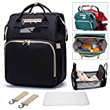 2020 New 3-1 Travel Bassinet Portable Crib Diaper Bag Backpack Foldable Baby Bed Diaper Changing Station Multi-Function Large-Capacity Mommy Bag with Mattress for Newborn Baby Toddler, Travel Home