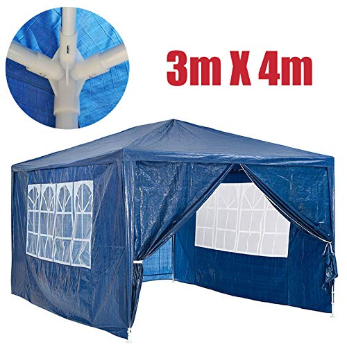 3x4m Waterproof Gazebo Outdoor Party Wedding Event Shelter Tent with 4 Removable Side Walls (3 with Windows 1 with Zip) for all seasons, Blue, 2 Year Warranty