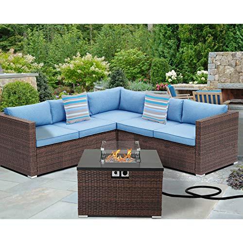 SUNBURY Outdoor 4 Piece Sectional Sofa Propane Fire Pit, Patio Furniture Set w 32-inch 40,000 BTU Square Wicker Fire Table Tank 20 gal Outside (Blue)