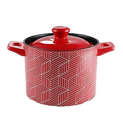 Olla de cerámica para cazuela con tapa, cacerola sostenible resistente al calor con asa, ideal para cocinar a fuego lento Olla alta para sopa de 3.5 l Código de producto: sgtgtgg-1540