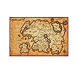 HUAIREN The Elder Scrolls - Póster de mapa del mundo de Skyrim con impresión en lienzo para decoración de la habitación, habitación familiar, cuarto de baño, 30 x 45 cm