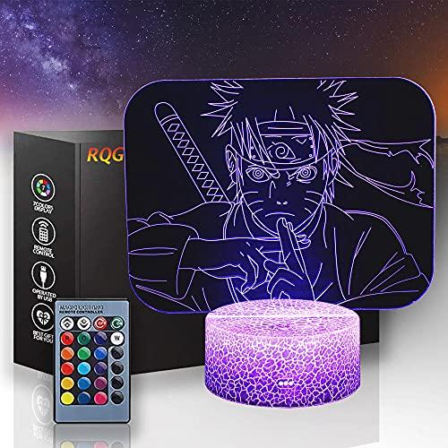 Naruto - Lámpara de noche para niños, 3D, 16 colores cambiantes de control remoto, modelo de muerte, decoración creativa del dormitorio, mejor regalo de cumpleaños, ideal para niños y hombres