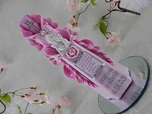Geschnitzte Taufkerze Kommunionkerze rosa für Mädchen mit Schutzengel und Taufspruch 3D inkl. Name und Datum