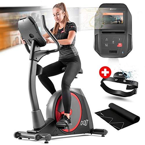 Hop-Sport Heimtrainer Fahrrad HS-300H Aspect inkl. Unterlegmatte und Brustgurt - Ergometer mit App-Steuerung, integriertem Ventilator, Schwungmasse 20 kg - Fitnessbike max. Nutzergewicht 160 kg