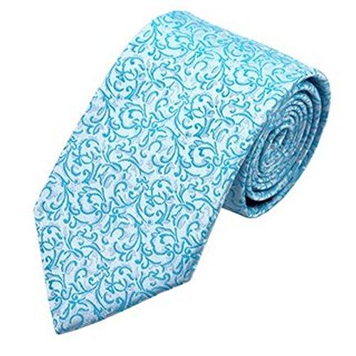 Jason & Vogue Design Cravate en Argent Turquoise Motifs floraux