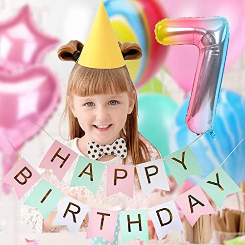 7 Años Decoración de Cumpleaños de Niña Color Degradado Número 7 de ágata Número Gigante 7(40