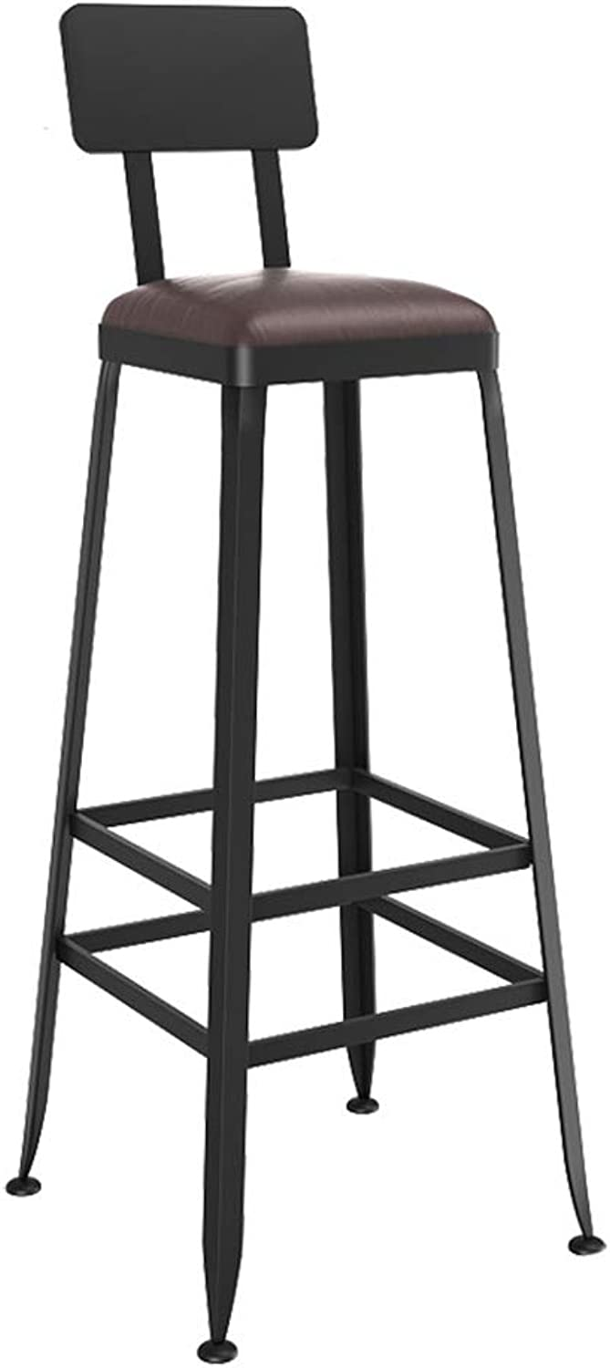 Barstool Iron Breakfast Dining Stool for Kitchen Bar Counter Home Commercial Chair High Stool with Backrest and PU Cushion LOFT Industrial Style (Size   Height 80cm)