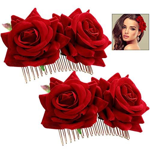 iwobi Hebillas de Pelo de Flor Rosa, 2 Piezas de Pinza de Pelo Flor Rosa Pinza para el Cabello de la Boda Bailarina de Flamenco, Accesorios para el Cabello con Flor de Rosa para Mujeres