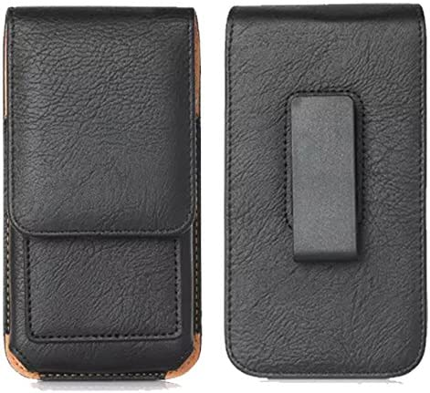 PU Leather Vertical Swivel Belt Clip Case Holster Phone Pouch Holder with Card Slots for Samsung Galaxy A10, A20, A50 / Motorola Moto G7, Z4, Z3, Z3 Play/Google Pixel 3 XL, 2XL / OnePlus 6T (Black)
