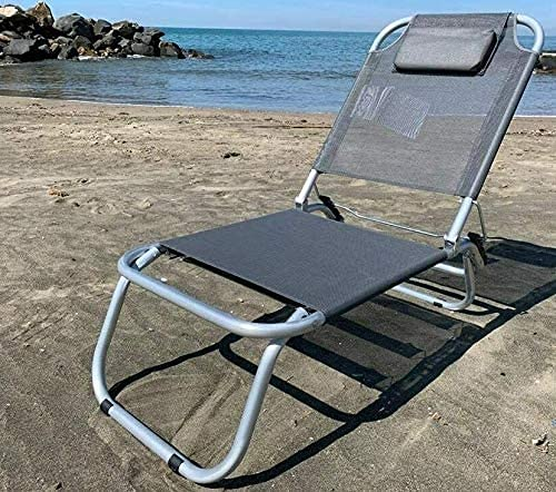 GLOBOLANDIA SRL Spiaggina Mare Grigia a 3 Posizioni in Alluminio e Textilene con Cuscino 3 Cinghie Elastiche