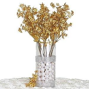 Silk Flower Arrangements Efavormart 12 Bushes Baby Breath Artificial Filler Flowers for DIY Wedding Bouquets Centerpieces Party Home Decoration - Gold
