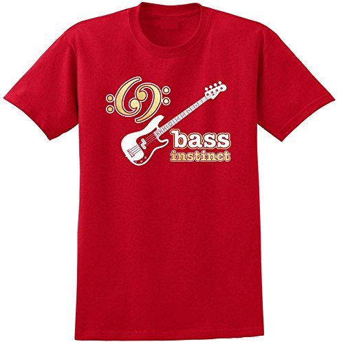 MusicaliTee Bass Guitar Instinct - Red Rot T Shirt Größe 87cm 36in Small