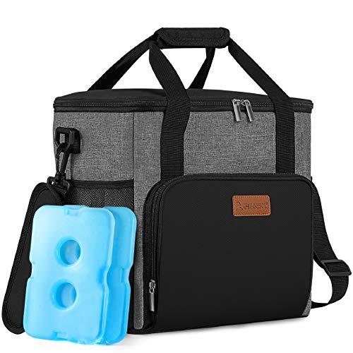 arteesol Kühltasche mit 2 Eisakku 20L Kühltasche faltbar, Picknicktasche, Isoliertasche, Thermotasche, Lunchtasche, Camping Tasche, um Lebensmittel warm/kühl zu halten (mit 1 Flaschenöffner)