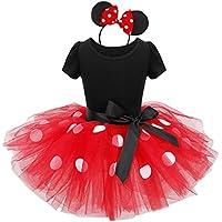 IEFIEL Vestidos de Princesa Fiesta Bautizo Tutú con Braga Interior Disfraces para Bebés Niñas (12 Meses a 8 Años) Rojo 2 Años