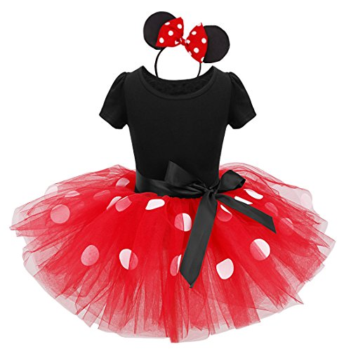 dPois Vestidos de Princesa Diadema Niña Bebé Fiesta Bautizo Tutú Ballet Danza Falda Lunares Bragas Disfraces Fantasía Carnaval Cumpleaños Infantil (6 Meses - 14 Años) Rojo 2 pc 4Años