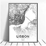 WLKQY Portugal Lisboa mapa de la ciudad cartel abstracto en blanco y negro arte moderno impresión decorativa lienzo pintura sala de estar 50x70cm sin marco