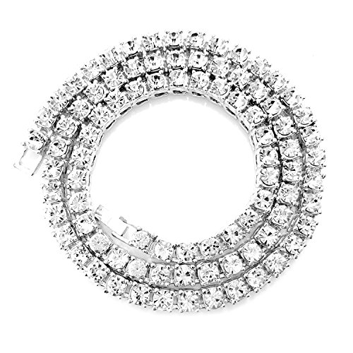 HH Bling Empire Unisex Iced Out Hip Hop Silver Gold Artificial Diamond cz Tennis Chain 16 18 20 22 24 30 Inches (1 Row - Silver, 20)
