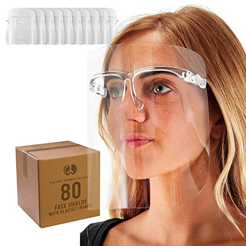 TCP Global Salon World Safety Face Shields with All Clear Glasses Frames (Case of 80) - Ultra Clear Protective Full Face Shields to Protect Eyes, Nose, Mouth - Anti-Fog PET Plastic, Goggles