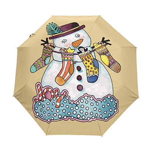 Chaussettes Bonhomme De Neige Parapluie Pliable Pliant à Ouverture Automatique Parapluies Pliant Coupe-Vent pour Voyager Plage Femmes Enfants Homme Fille