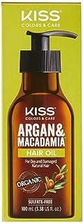 KISS Argan & Macadamia Hair Oil for Dry and Damaged Natural Hair 100ml (3.38 fl. oz) KAMO100 (1 PACK)