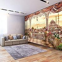 カスタム壁画壁紙モダンバルコニーシティビュー壁画リビングルームベッドルームレストラン3D壁壁画装飾-130x60cm