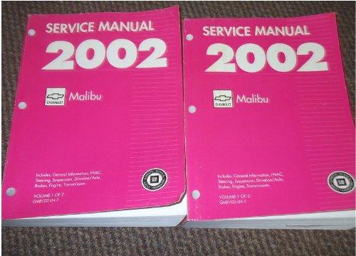 2002 Chevrolet CHEVY Malibu Service Shop Repair Manual Set FACTORY BOOKS OEM (2 volume set)