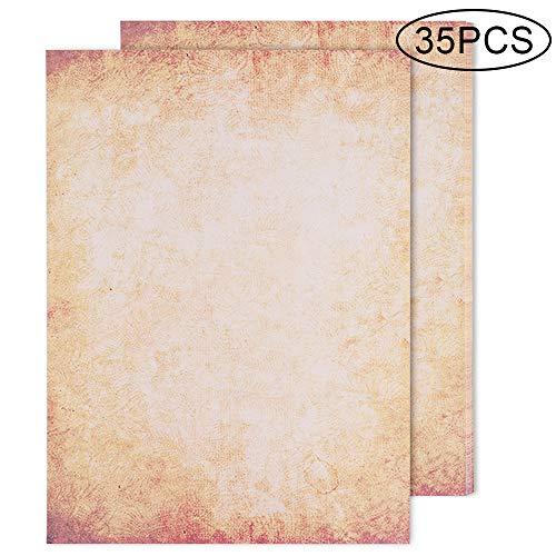 Goldge 35 Pcs Hojas de Papel de Diseño de Aspecto Antiguo DIN A4 100 g/m2,Set Carta Pergamino Vintage Adecuado Adecuado para Impresora de Inyección de Tinta, Impresión Láser y Escritura a Mano