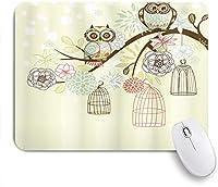 NIESIKKLAマウスパッド 彼らのケージからフクロウ冬の花の花フクロウ鳥ケージ自由画像 ゲーミング オフィス最適 おしゃれ 防水 耐久性が良い 滑り止めゴム底 ゲーミングなど適用 用ノートブックコンピュータマウスマット